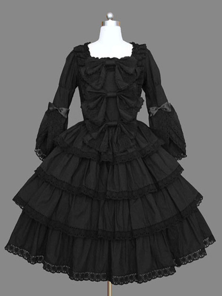 Milanoo Gothic Lolita OP Dress Black Ruffles Lolita One Piece Dresses