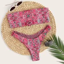 Bandeau Bikini mit Stamm Muster, Band und hohem Ausschnitt