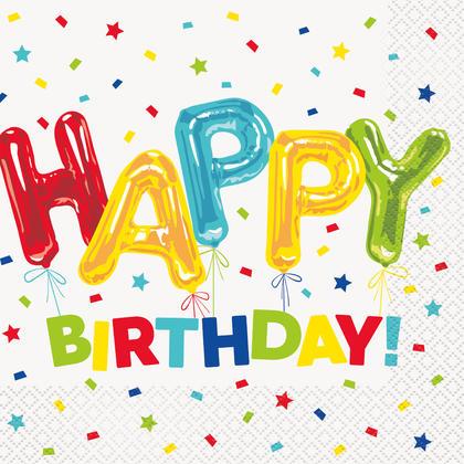 Happy Balloon Birthday Luncheon Napkins, 16ct For Birthday Party