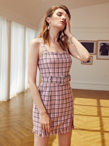 Buckle Belted Plaid Tweed Slit Raw Hem Dress