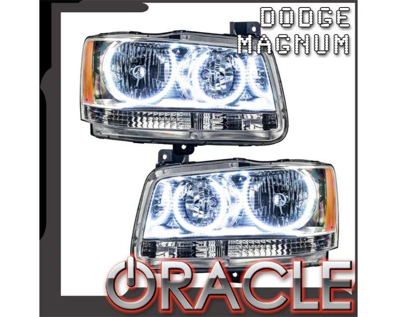 Oracle Lighting 8901-001 Pre-Assembled Headlights - Chrome LED Halo Kit White Dodge Magnum 2008