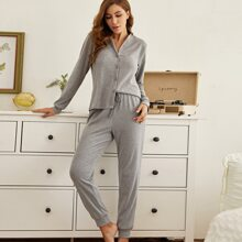 Solid Button Front Pajama Set