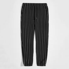 Pantalones de rayas con bolsillo con parche de cintura elastica