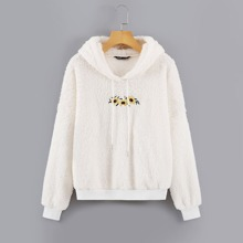 Floral Embroidery Drawstring Teddy Hoodie