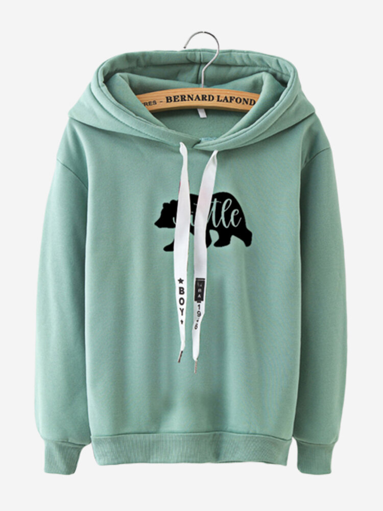 Women Casual Animal Printed Hooded Sweatshirts