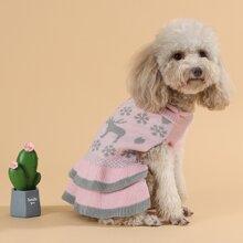 Hund Pullover mit Hirsch & Schneeflocke Muster