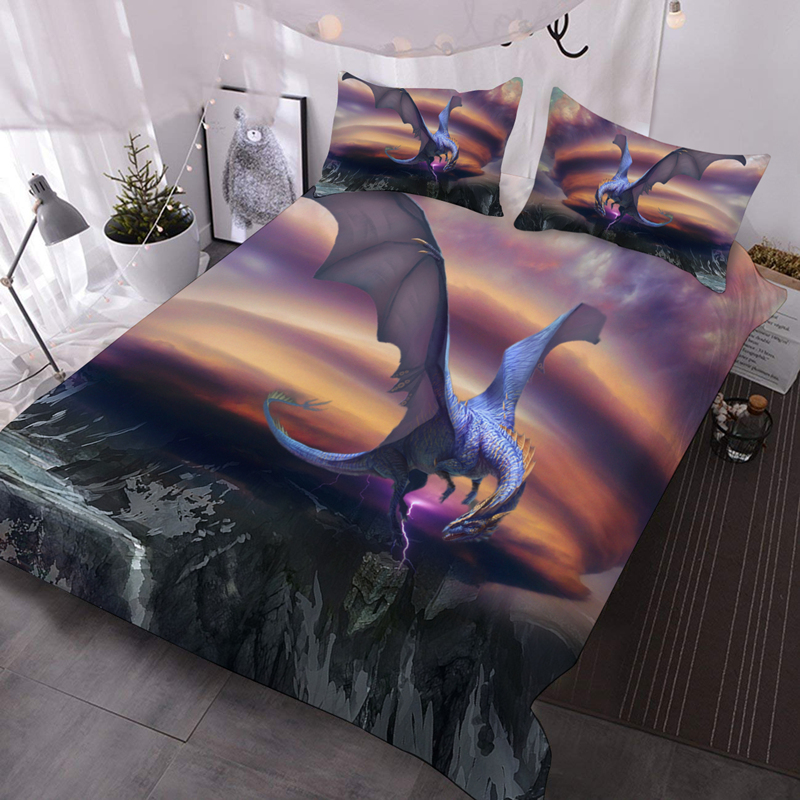 Purple Flying Dragon 3D Warm Animal Comforter 3-Piece Soft Comforter Sets with 2 Pillowcases
