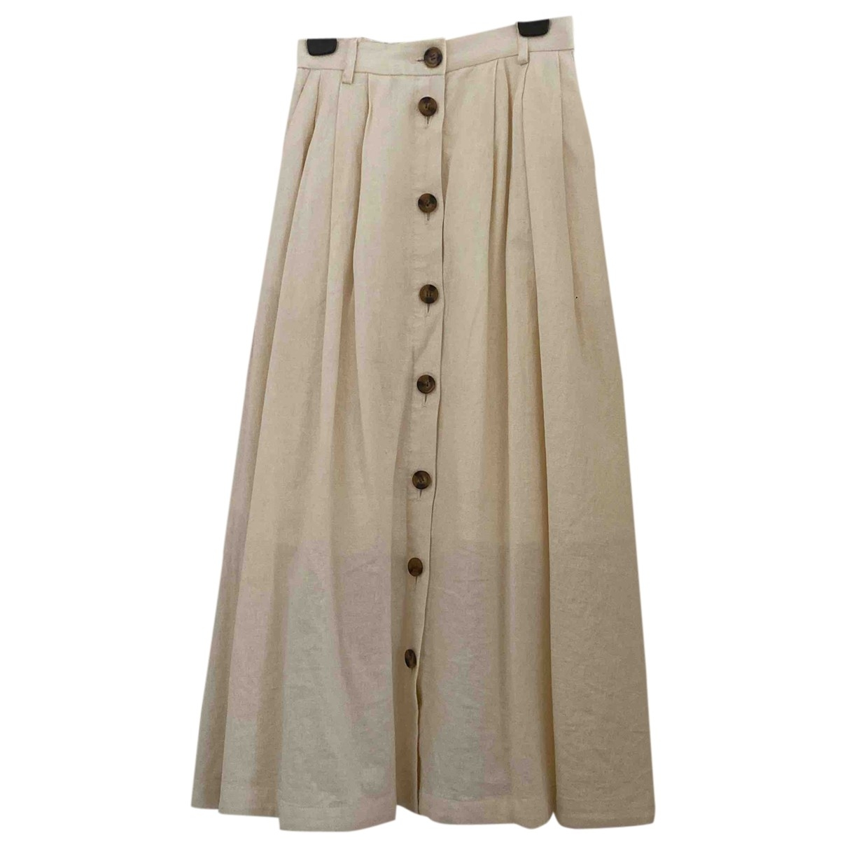 Non Signé / Unsigned Hippie Chic Beige Linen skirt for Women 1 0-5
