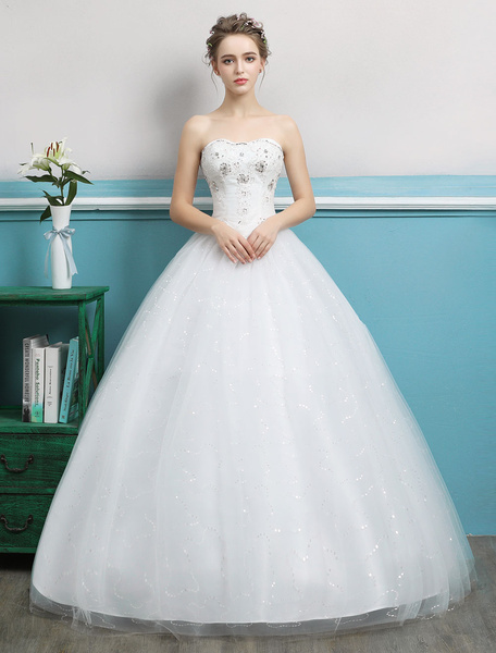 Milanoo Princess Ball Gown Wedding Dresses Strapless Tulle Ivory Beading Floor Length Bridal Dress