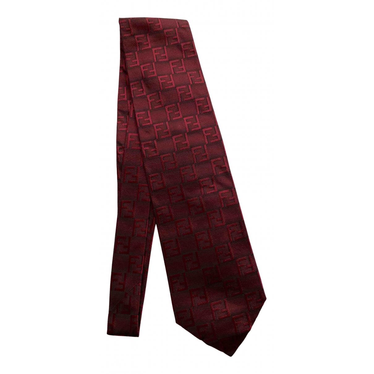 Fendi - Cravates   pour homme en soie - bordeaux