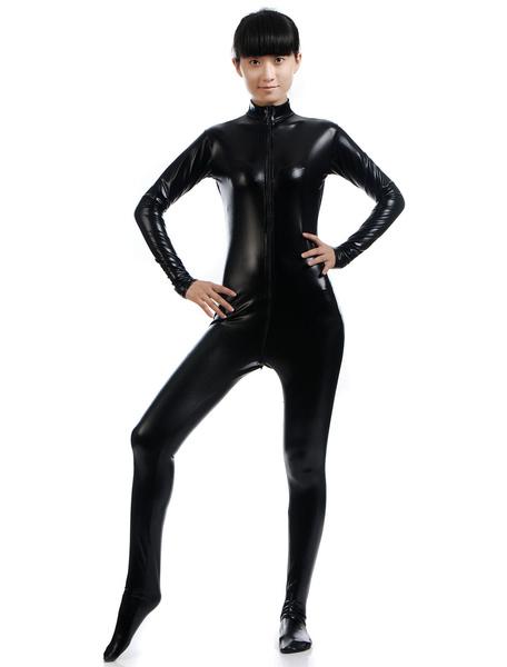 Milanoo Disfraz Halloween Negro Cosplay metalico brillante Zentai traje para las mujeres Halloween