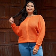 Plus Neon Orange Batwing Sleeve Ribbed Knit Sweater