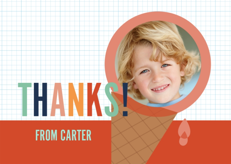 Birthday Thank You 5x7 Cards, Standard Cardstock 85lb, Card & Stationery -Yum, Ice Cream! Thank You