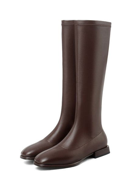 Milanoo Women Knee-High Boots PU Leather White Square Toe Flat Flat Knee Length Boots