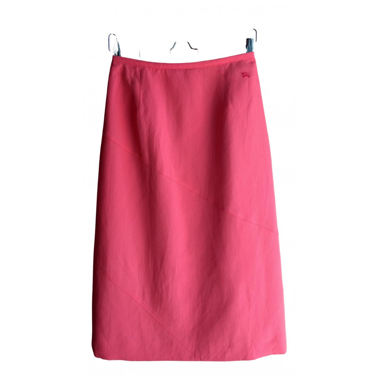 Burberry \N Pink Linen skirt for Women 42 IT