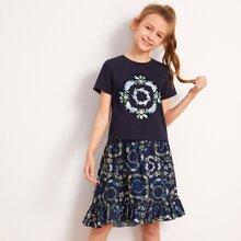 Maedchen T-Shirt mit Blumen Muster und Rock Set mit Raffungsaum