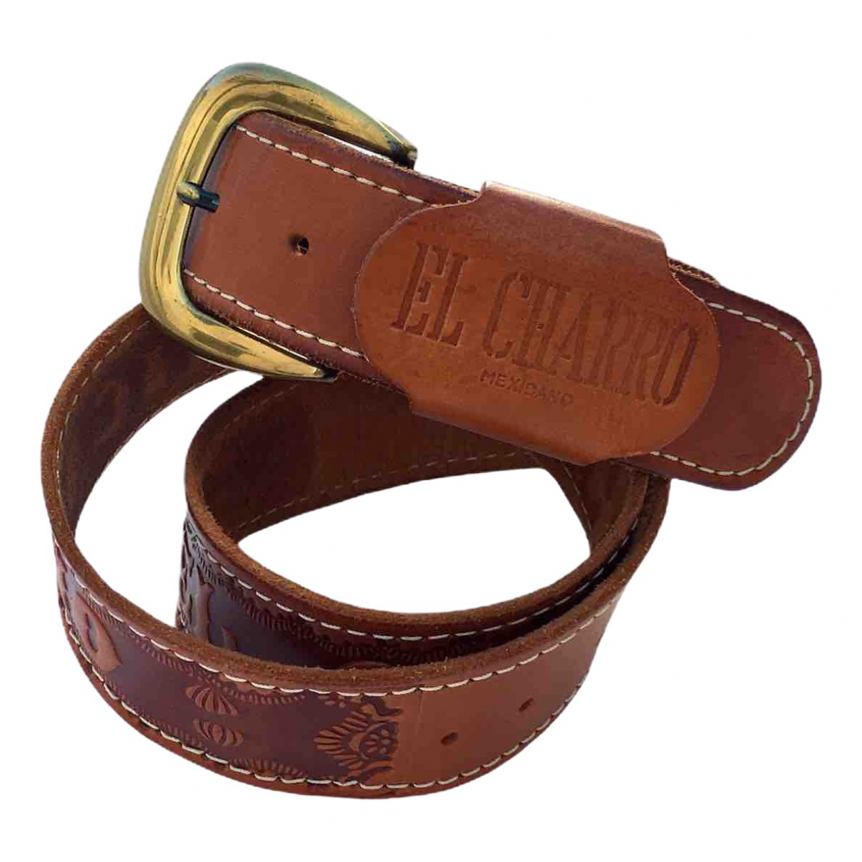 Non Signé / Unsigned \N Brown Leather belt for Men 80 cm