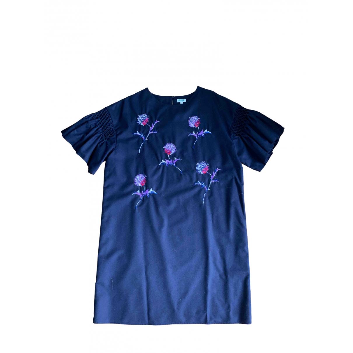 Kenzo \N Kleid in  Marine Wolle