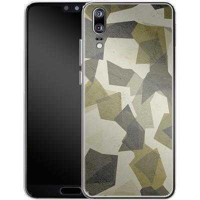 Huawei P20 Silikon Handyhuelle - Geometric Camo Green von caseable Designs