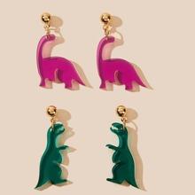 2 pares pendientes largos con diseño de dinosaurio