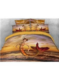 Mermaid and Sea Printed 4-Piece 3D Bedding Sets/Duvet Covers