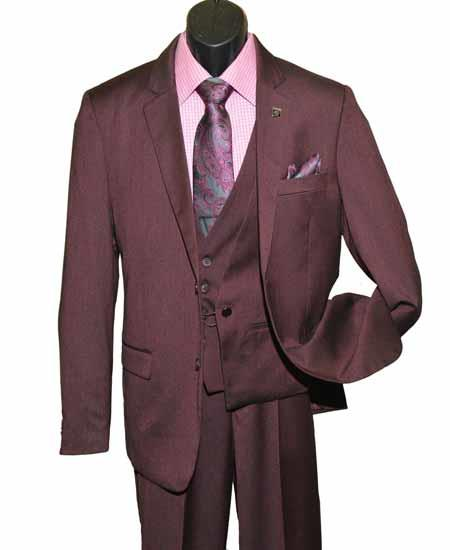 Men's Burgundy Single Breasted Notch Lapel Chain Closure Vested Suit