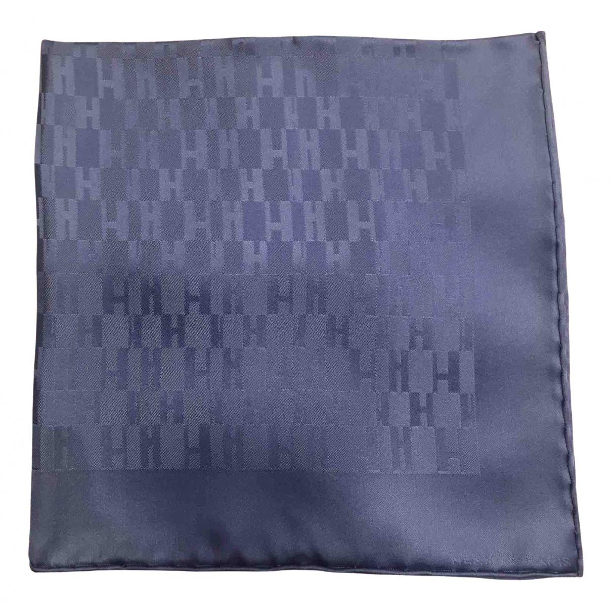 Hermès Pochette Blue Silk scarf & pocket squares for Men \N