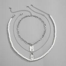3 Stuecke Maenner Halskette mit Kunstperlen