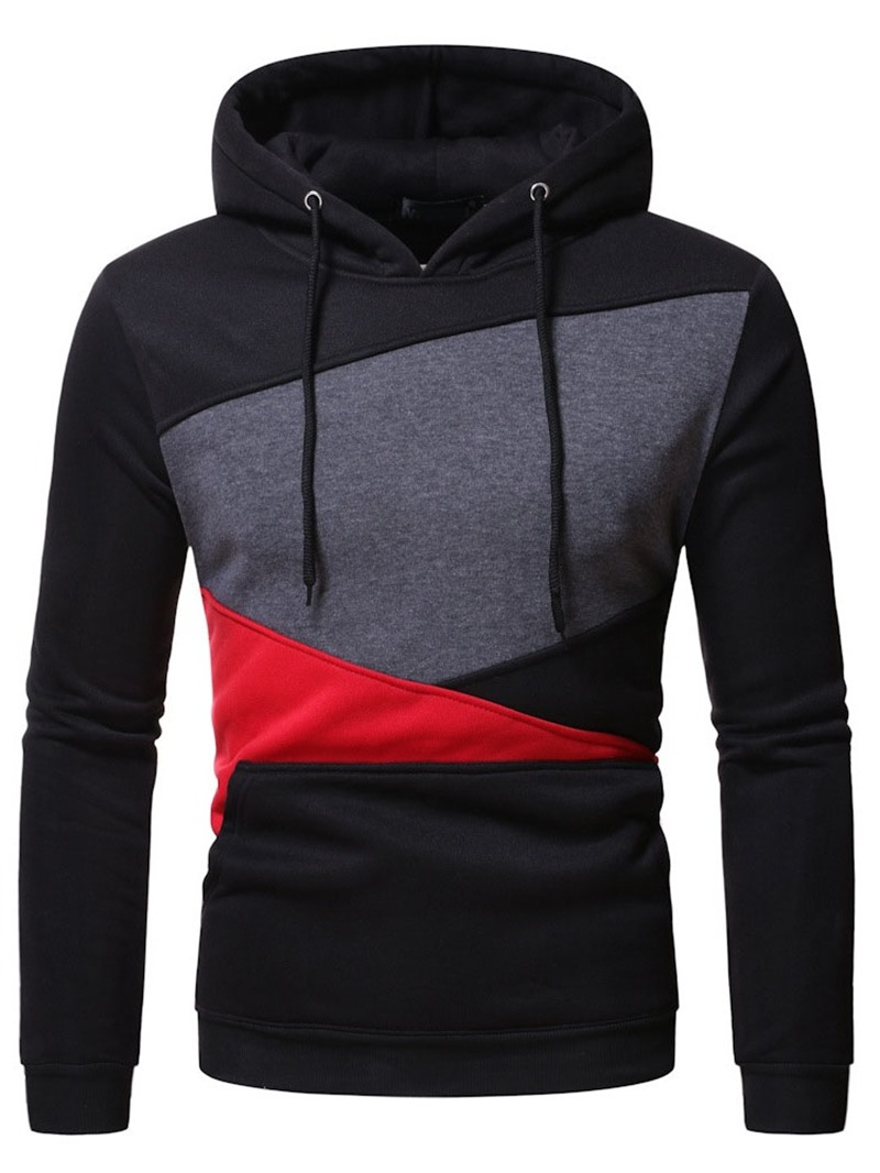 Ericdress Color Block Pullover Patchwork Slim Casual Hoodies