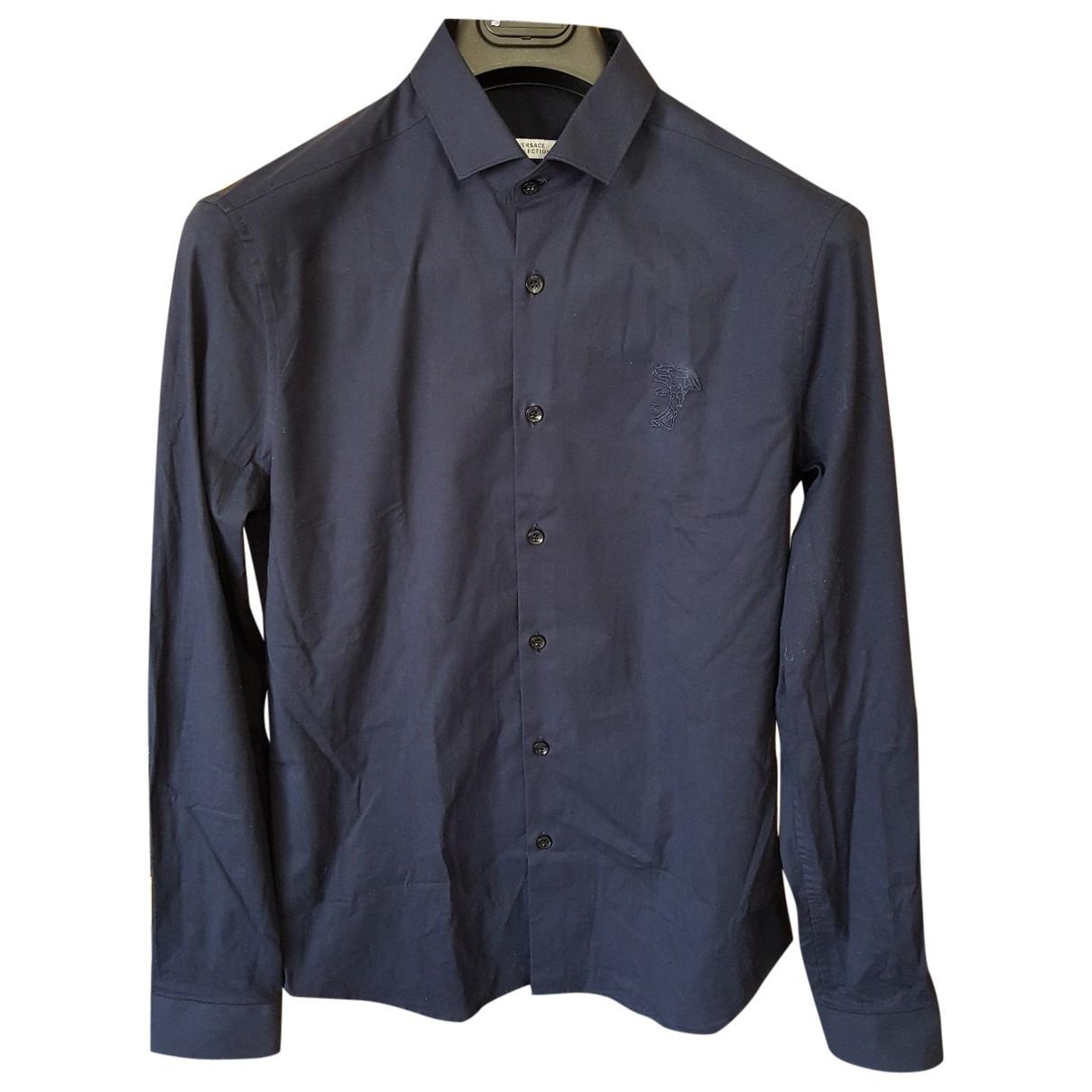 Versace \N Navy Cotton Shirts for Men 40 EU (tour de cou / collar)