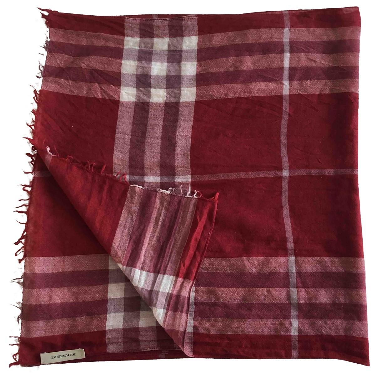 Burberry - Foulard   pour femme en coton - rouge