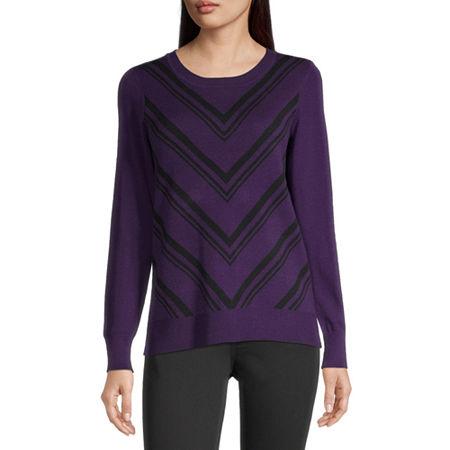 Liz Claiborne Womens Round Neck Long Sleeve Chevron Pullover Sweater, Petite X-small , Purple