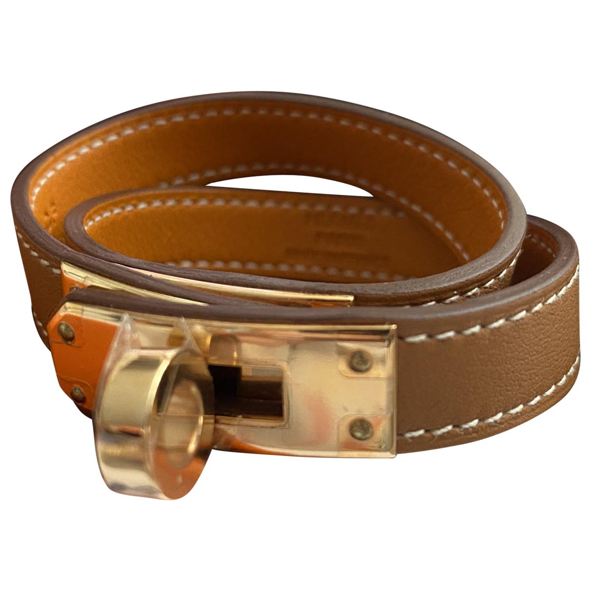 Hermes Kelly Double Tour Armband in  Gold Leder