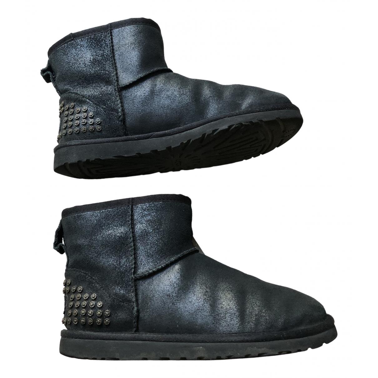 Ugg - Boots   pour femme en cuir verni - noir