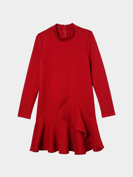 Yoins Burgundy Stand Collar Flounced Hem Dress