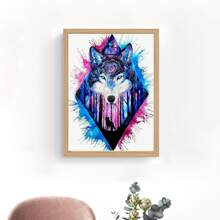 Pintura de diamante con patron de lobo