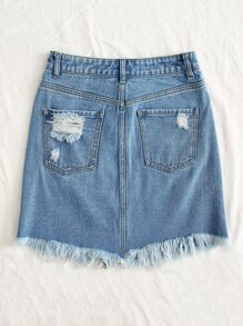Raw Hem Ripped Denim Skirt