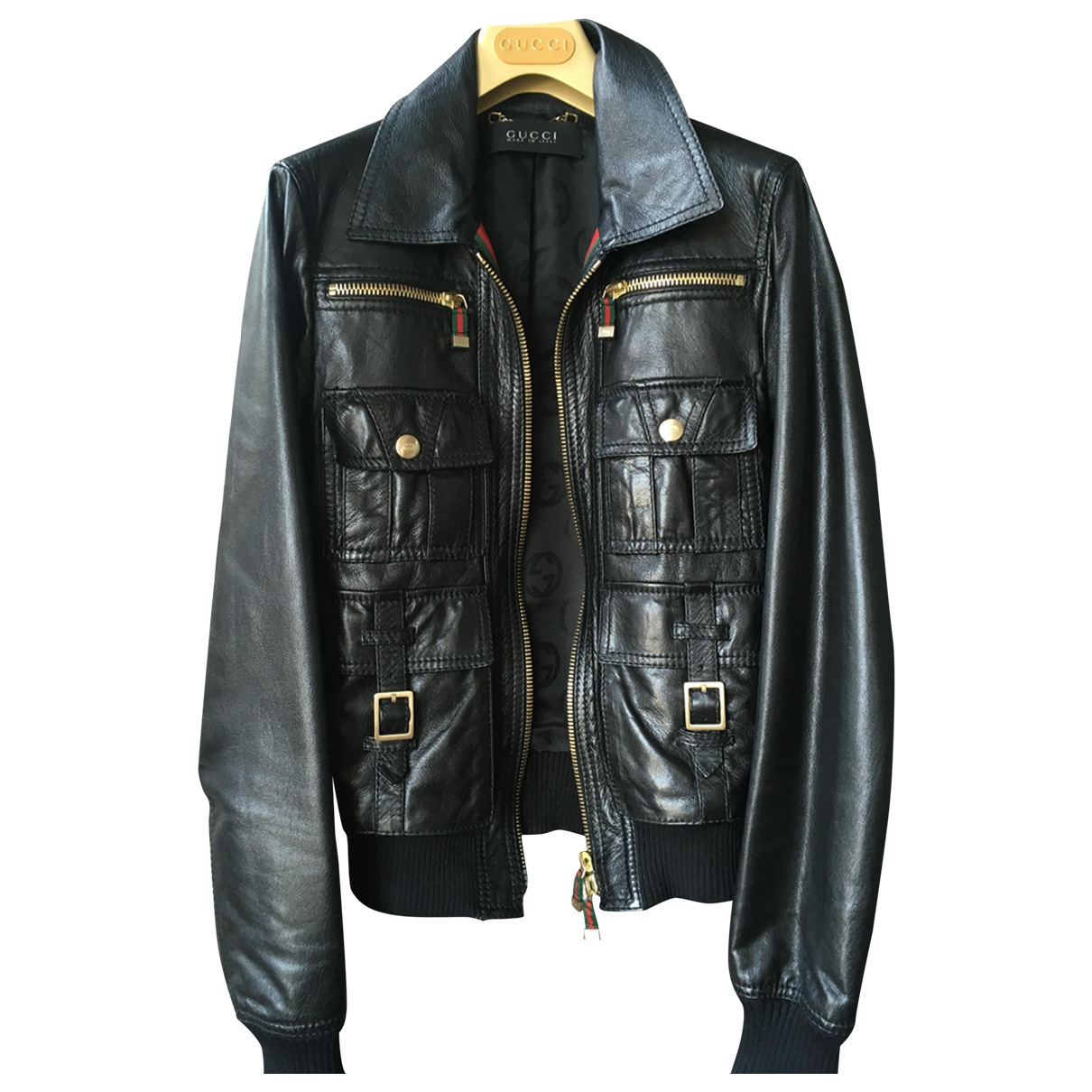 Gucci - Veste   pour femme en cuir - noir
