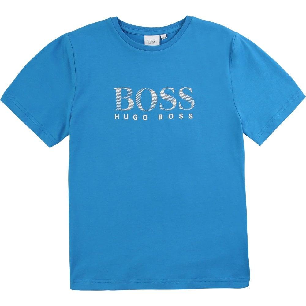 Hugo Boss Kids Short Sleeve Logo T-Shirt Colour: BLUE, Size: 6 YEARS