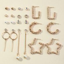 22pcs Faux Pearl Decor Textured Geo Earrings