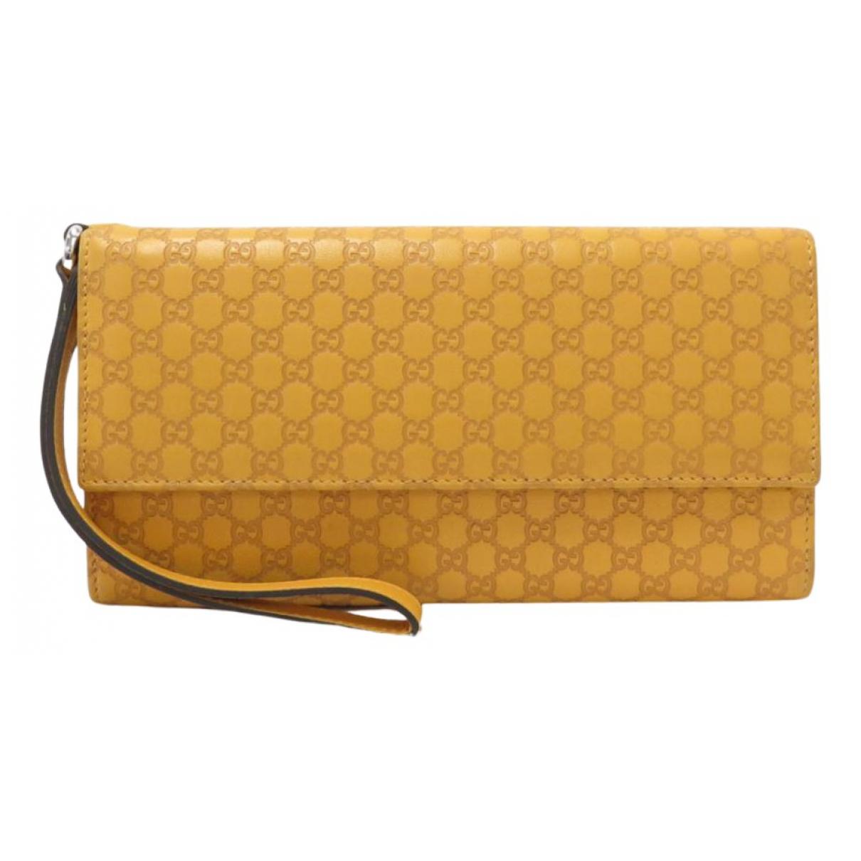 Gucci - Portefeuille   pour femme en cuir - jaune