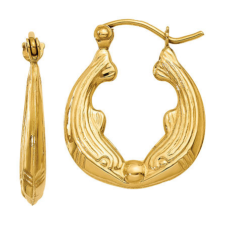14K Gold 10mm Hoop Earrings, One Size , No Color Family