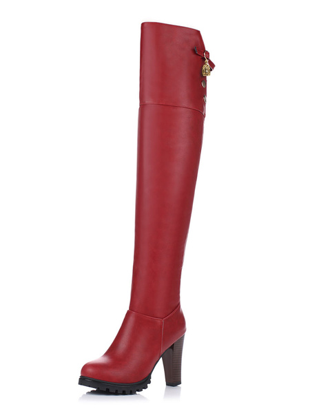 Milanoo Thigh High Boots Womens PU Solid Color Round Toe Chunky Heel Over The Knee Boots