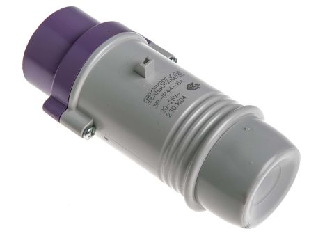 RS PRO IP44 Purple Cable Mount 3P Industrial Power Plug, Rated At 16.0A, 20 → 25 V