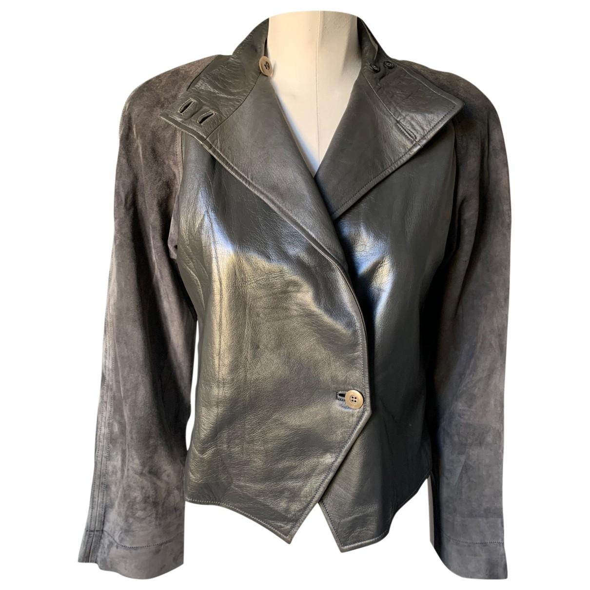 Gucci - Blouson   pour femme en cuir - gris