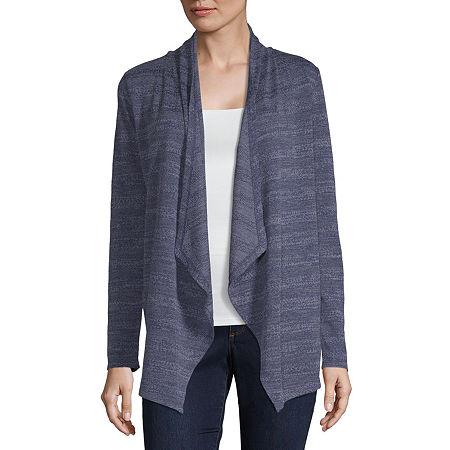 Liz Claiborne Womens Long Sleeve Cardigan, Petite Small , Blue