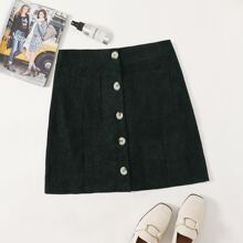 Plus Corduroy Pocket Patched Button Front Skirt