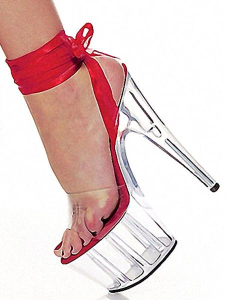 Milanoo Sandalias sexy para mujer Plataforma negra Cuero de PU Zapatos de tacon de aguja con tacon de aguja abierto
