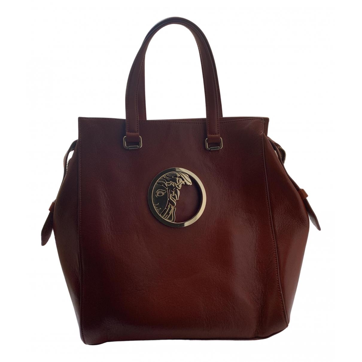 Versace - Sac a main   pour femme en cuir - marron
