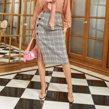 Button Front Split Hem Plaid Skirt